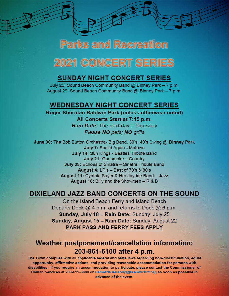 Greenwich Parks and Rec 2021 Summer Concert series